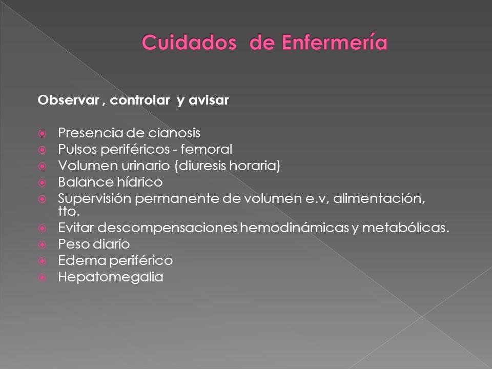 Observar, controlar y avisar Presencia de cianosis Pulsos periféricos - femoral Volumen urinario (diuresis horaria) Balance hídrico Supervisión perman