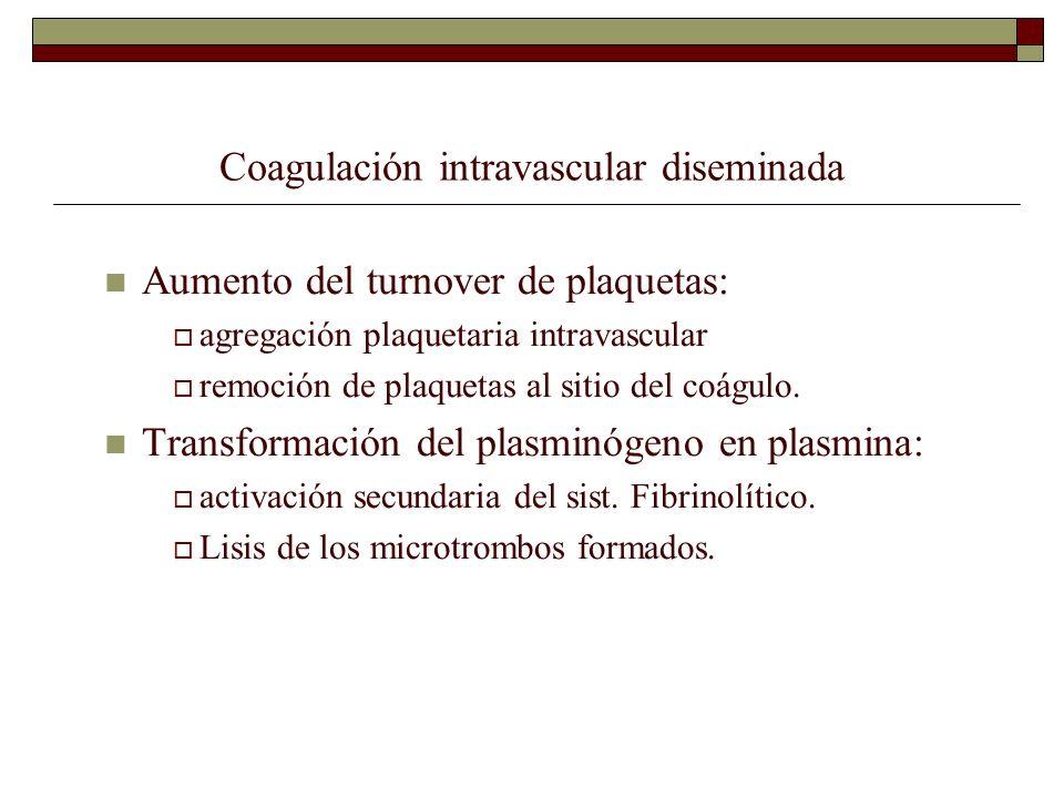 Coagulación intravascular diseminada Aumento del turnover de plaquetas: agregación plaquetaria intravascular remoción de plaquetas al sitio del coágul