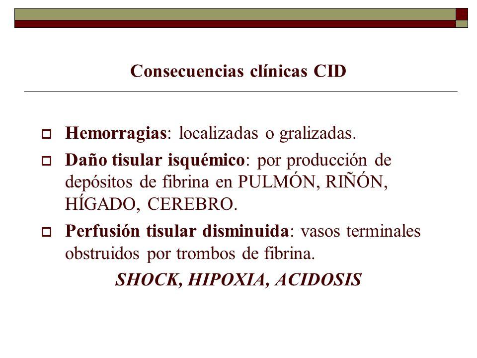 Consecuencias clínicas CID Hemorragias: localizadas o gralizadas. Daño tisular isquémico: por producción de depósitos de fibrina en PULMÓN, RIÑÓN, HÍG