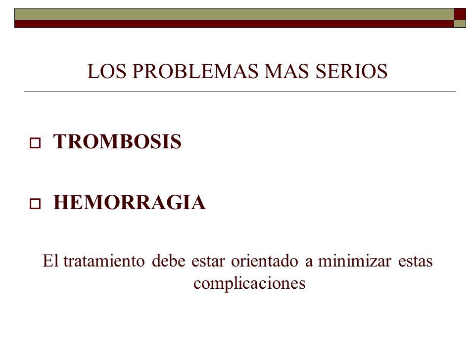 LOS PROBLEMAS MAS SERIOS TROMBOSIS HEMORRAGIA El tratamiento debe estar orientado a minimizar estas complicaciones