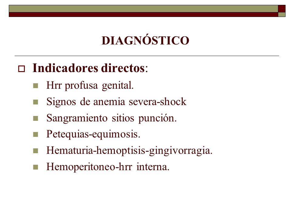 DIAGNÓSTICO Indicadores directos: Hrr profusa genital. Signos de anemia severa-shock Sangramiento sitios punción. Petequias-equimosis. Hematuria-hemop