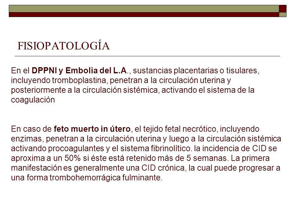 FISIOPATOLOGÍA En el DPPNI y Embolia del L.A., sustancias placentarias o tisulares, incluyendo tromboplastina, penetran a la circulación uterina y pos