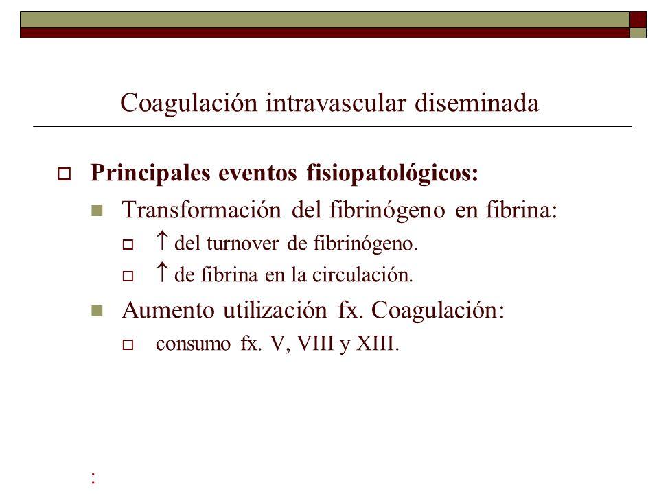 Coagulación intravascular diseminada Principales eventos fisiopatológicos: Transformación del fibrinógeno en fibrina: del turnover de fibrinógeno. de