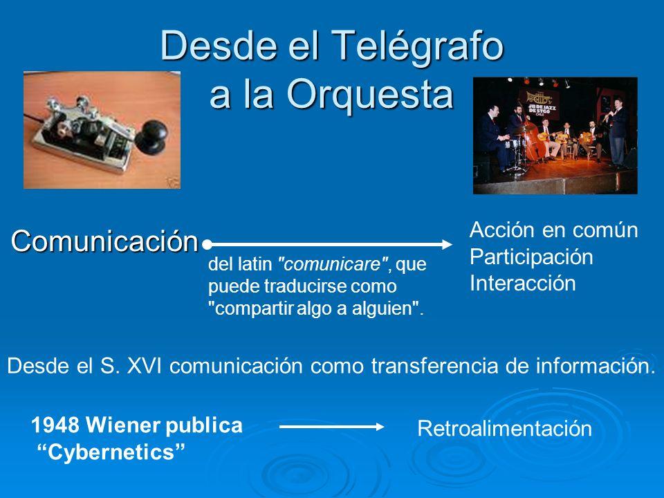 Desde el Telégrafo a la Orquesta Comunicación Acción en común Participación Interacción Desde el S. XVI comunicación como transferencia de información
