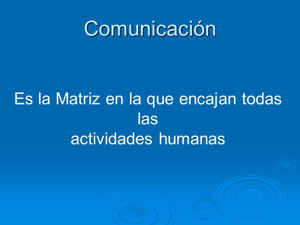 Comunicación Es la Matriz en la que encajan todas las actividades humanas