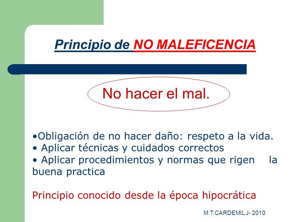 M.T.CARDEMIL J- 2010 Principio de NO MALEFICENCIA No hacer el mal. Obligación de no hacer daño: respeto a la vida. Aplicar técnicas y cuidados correct