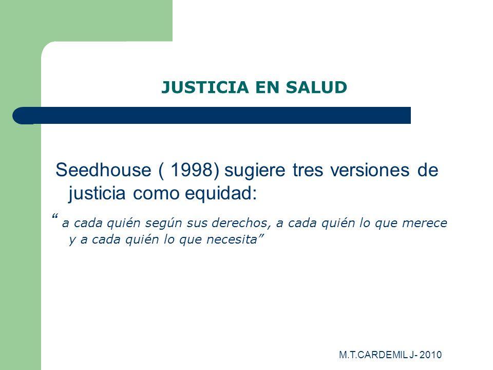 M.T.CARDEMIL J- 2010 JUSTICIA EN SALUD Seedhouse ( 1998) sugiere tres versiones de justicia como equidad: a cada quién según sus derechos, a cada quié