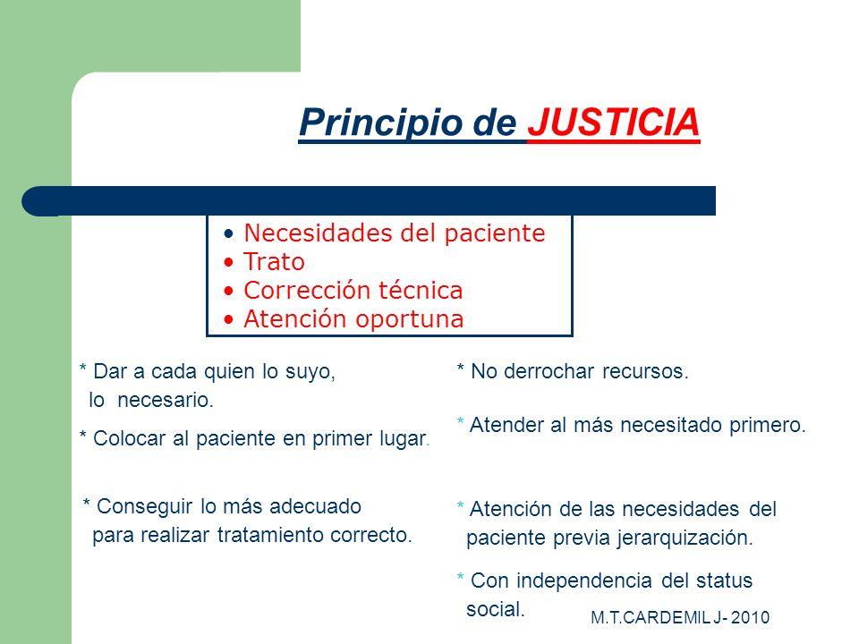 M.T.CARDEMIL J- 2010 Principio de JUSTICIA * Atender al más necesitado primero. * Colocar al paciente en primer lugar. * Conseguir lo más adecuado par