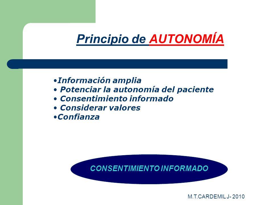 M.T.CARDEMIL J- 2010 Principio de AUTONOMÍA CONSENTIMIENTO INFORMADO Información amplia Potenciar la autonomía del paciente Consentimiento informado C