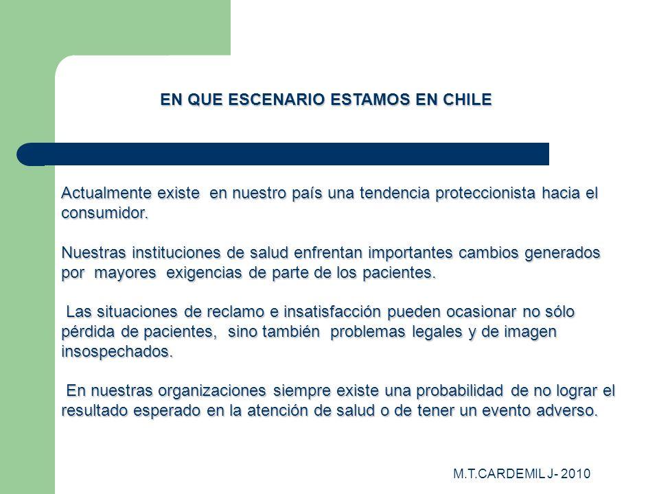M.T.CARDEMIL J- 2010 Actualmente existe en nuestro país una tendencia proteccionista hacia el consumidor. Nuestras instituciones de salud enfrentan im