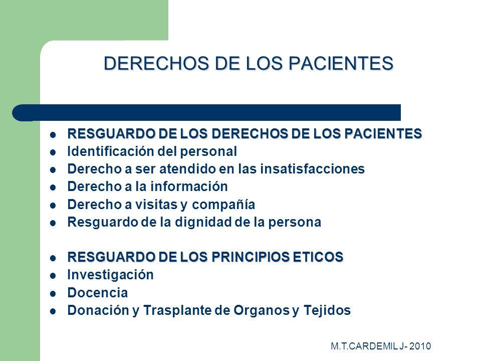 M.T.CARDEMIL J- 2010 DERECHOS DE LOS PACIENTES RESGUARDO DE LOS DERECHOS DE LOS PACIENTES RESGUARDO DE LOS DERECHOS DE LOS PACIENTES Identificación de