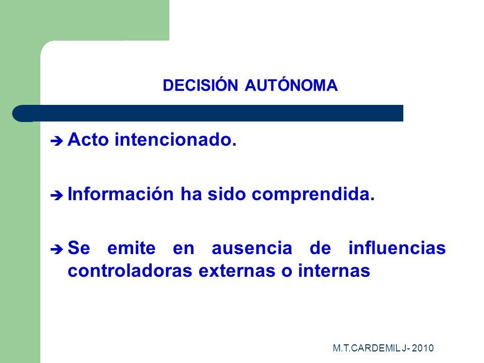 M.T.CARDEMIL J- 2010 DECISIÓN AUTÓNOMA Acto intencionado. Información ha sido comprendida. Se emite en ausencia de influencias controladoras externas