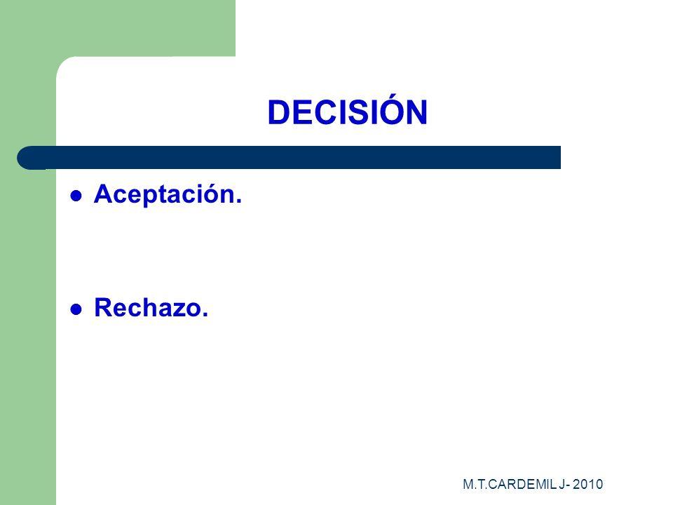 M.T.CARDEMIL J- 2010 DECISIÓN Aceptación. Rechazo.