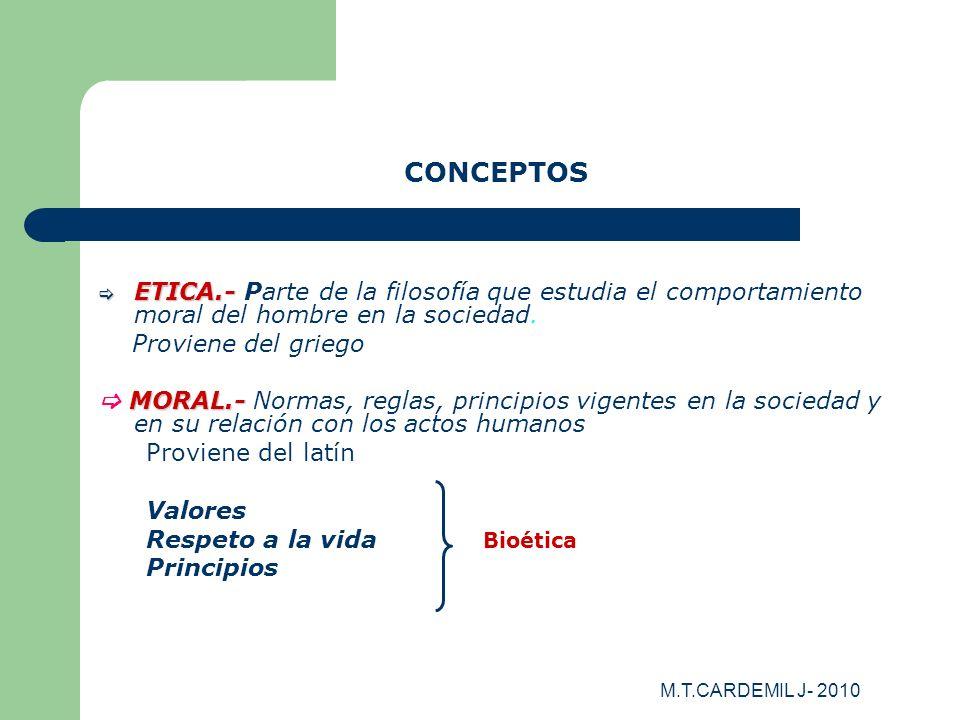 M.T.CARDEMIL J- 2010 CONCEPTOS ETICA.- ETICA.- Parte de la filosofía que estudia el comportamiento moral del hombre en la sociedad. Proviene del grieg
