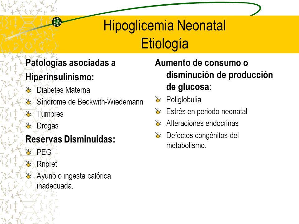 Hipoglicemia Neonatal Etiología Patologías asociadas a Hiperinsulinismo: Diabetes Materna Síndrome de Beckwith-Wiedemann Tumores Drogas Reservas Dismi