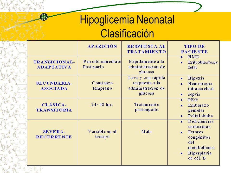 Hipoglicemia Neonatal Clasificación