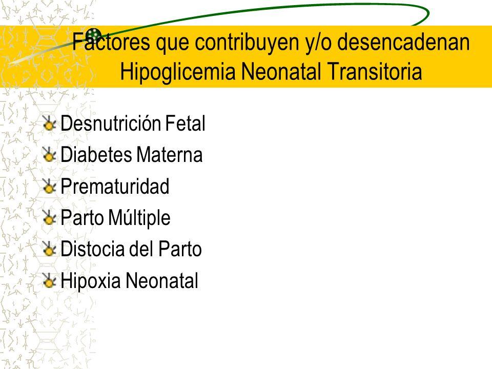 Factores que contribuyen y/o desencadenan Hipoglicemia Neonatal Transitoria Desnutrición Fetal Diabetes Materna Prematuridad Parto Múltiple Distocia d
