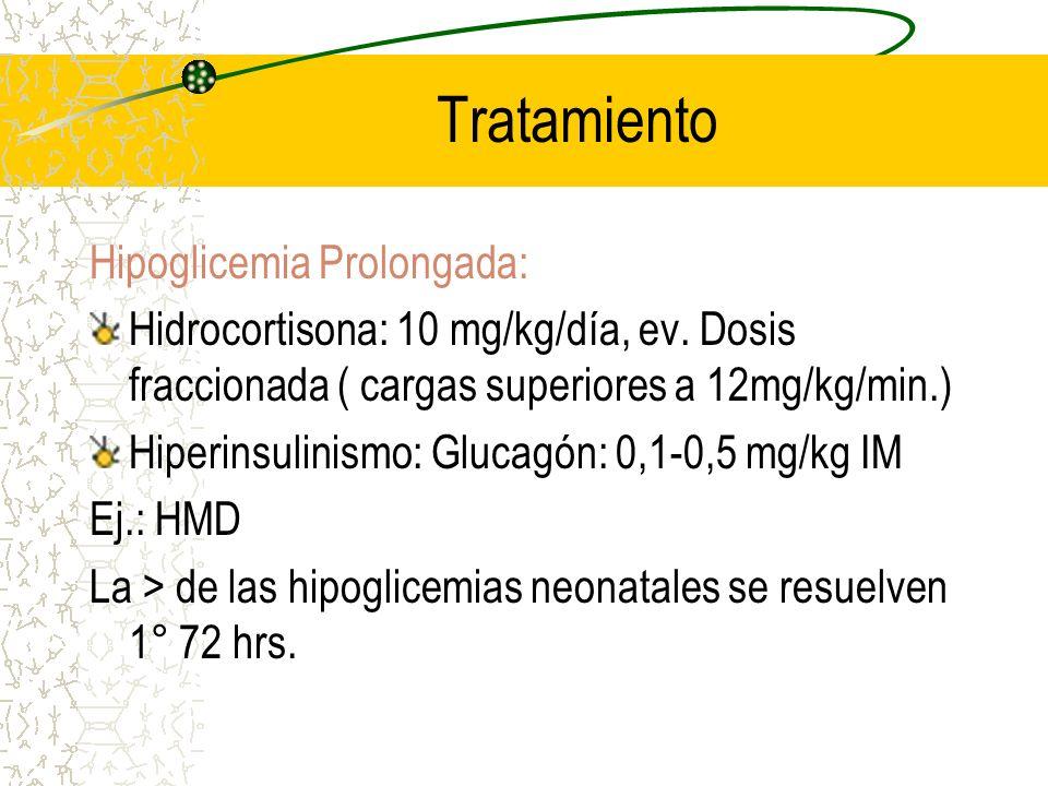 Tratamiento Hipoglicemia Prolongada: Hidrocortisona: 10 mg/kg/día, ev. Dosis fraccionada ( cargas superiores a 12mg/kg/min.) Hiperinsulinismo: Glucagó
