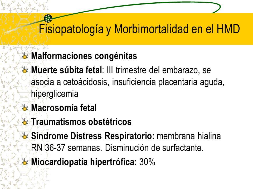 Fisiopatología y Morbimortalidad en el HMD Malformaciones congénitas Muerte súbita fetal : III trimestre del embarazo, se asocia a cetoácidosis, insuf