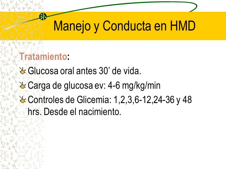 Manejo y Conducta en HMD Tratamiento: Glucosa oral antes 30 de vida. Carga de glucosa ev: 4-6 mg/kg/min Controles de Glicemia: 1,2,3,6-12,24-36 y 48 h