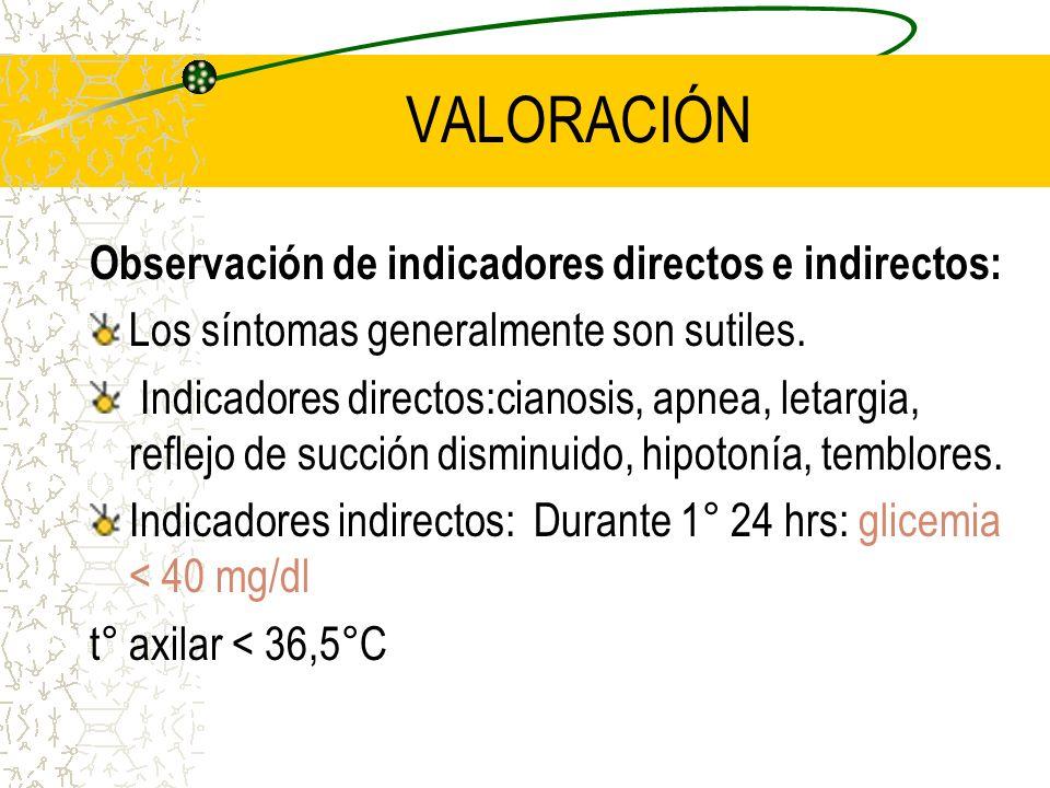 VALORACIÓN Observación de indicadores directos e indirectos: Los síntomas generalmente son sutiles. Indicadores directos:cianosis, apnea, letargia, re