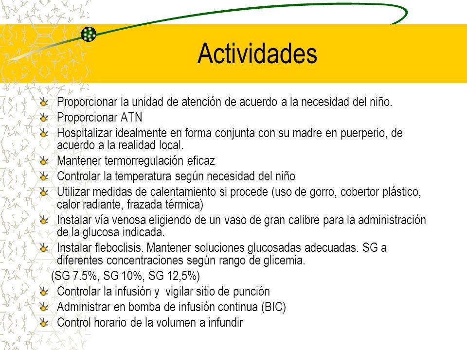 Actividades Proporcionar la unidad de atención de acuerdo a la necesidad del niño. Proporcionar ATN Hospitalizar idealmente en forma conjunta con su m
