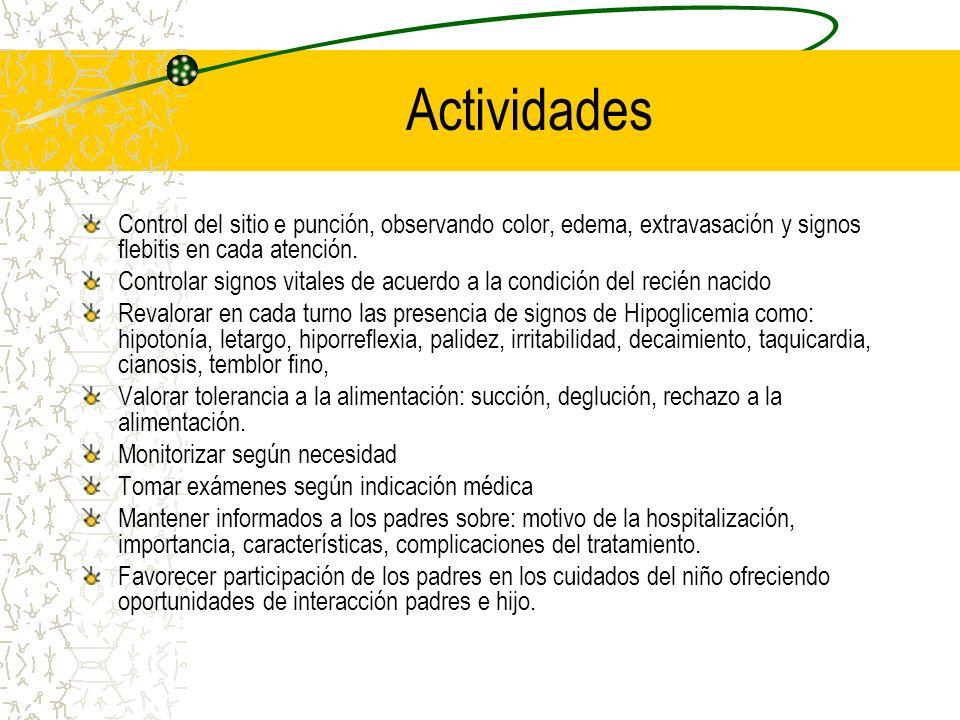 Actividades Control del sitio e punción, observando color, edema, extravasación y signos flebitis en cada atención. Controlar signos vitales de acuerd