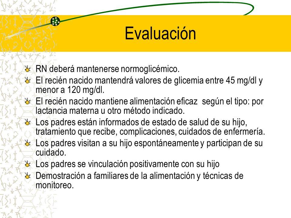 Evaluación RN deberá mantenerse normoglicémico. El recién nacido mantendrá valores de glicemia entre 45 mg/dl y menor a 120 mg/dl. El recién nacido ma