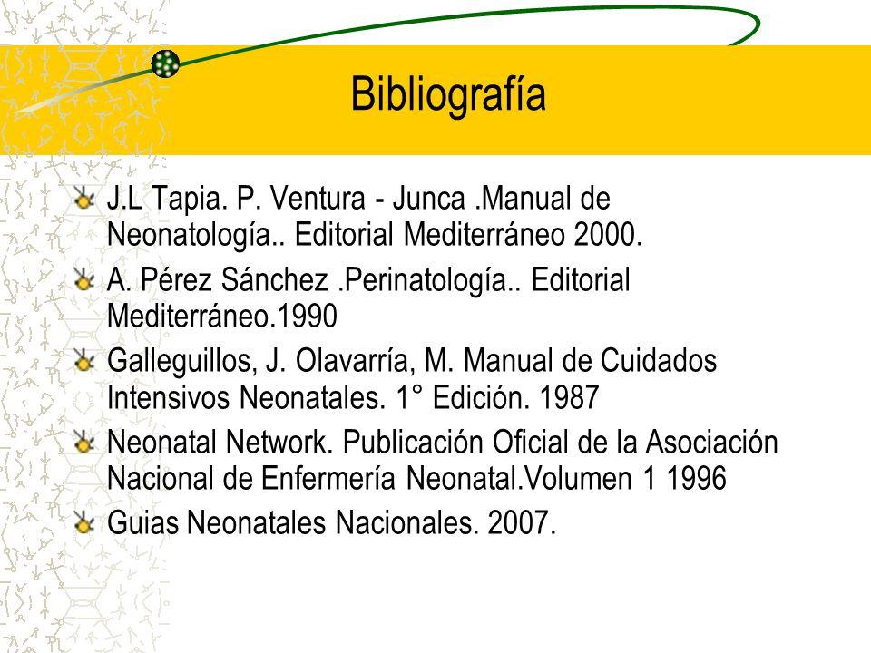 Bibliografía J.L Tapia. P. Ventura - Junca.Manual de Neonatología.. Editorial Mediterráneo 2000. A. Pérez Sánchez.Perinatología.. Editorial Mediterrán