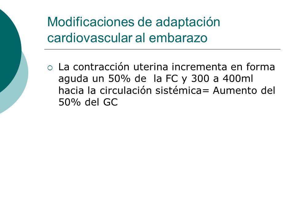 Modificaciones de adaptación cardiovascular al embarazo La contracción uterina incrementa en forma aguda un 50% de la FC y 300 a 400ml hacia la circul
