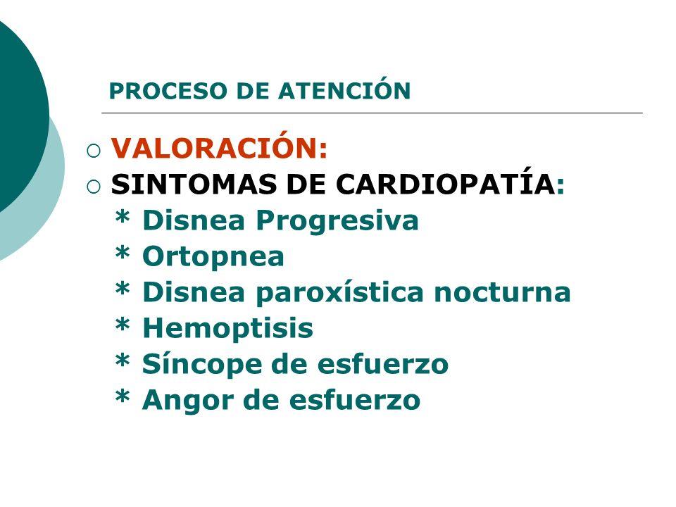 PROCESO DE ATENCIÓN VALORACIÓN: SINTOMAS DE CARDIOPATÍA: * Disnea Progresiva * Ortopnea * Disnea paroxística nocturna * Hemoptisis * Síncope de esfuer