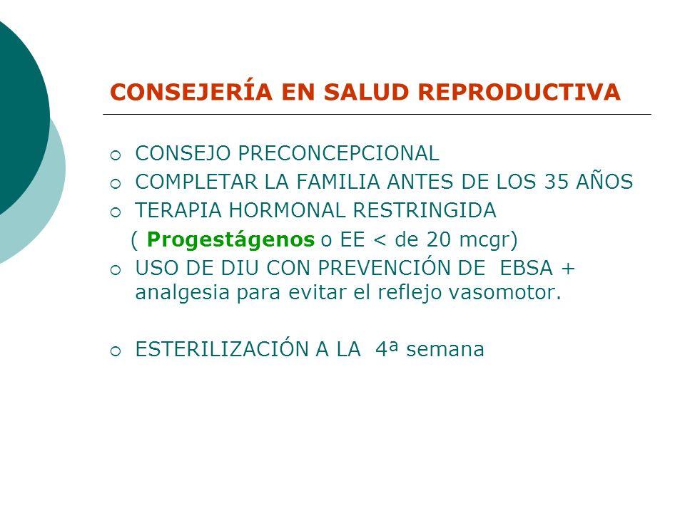 CONSEJERÍA EN SALUD REPRODUCTIVA CONSEJO PRECONCEPCIONAL COMPLETAR LA FAMILIA ANTES DE LOS 35 AÑOS TERAPIA HORMONAL RESTRINGIDA ( Progestágenos o EE <