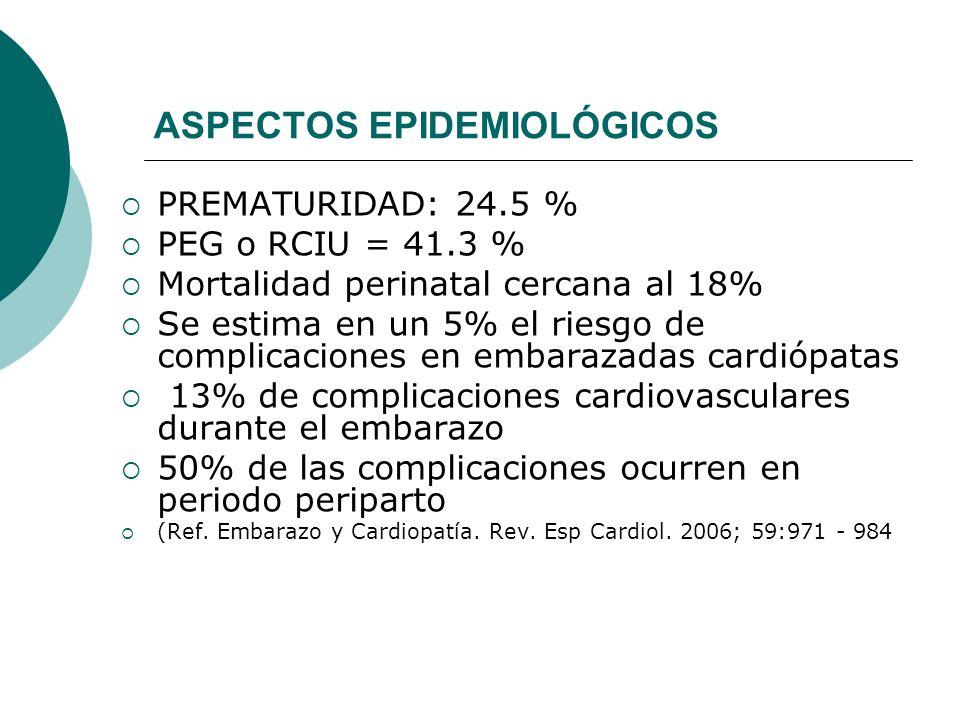 ASPECTOS EPIDEMIOLÓGICOS PREMATURIDAD: 24.5 % PEG o RCIU = 41.3 % Mortalidad perinatal cercana al 18% Se estima en un 5% el riesgo de complicaciones e