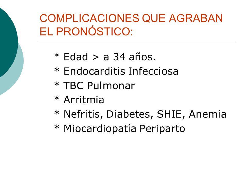 COMPLICACIONES QUE AGRABAN EL PRONÓSTICO: * Edad > a 34 años. * Endocarditis Infecciosa * TBC Pulmonar * Arritmia * Nefritis, Diabetes, SHIE, Anemia *