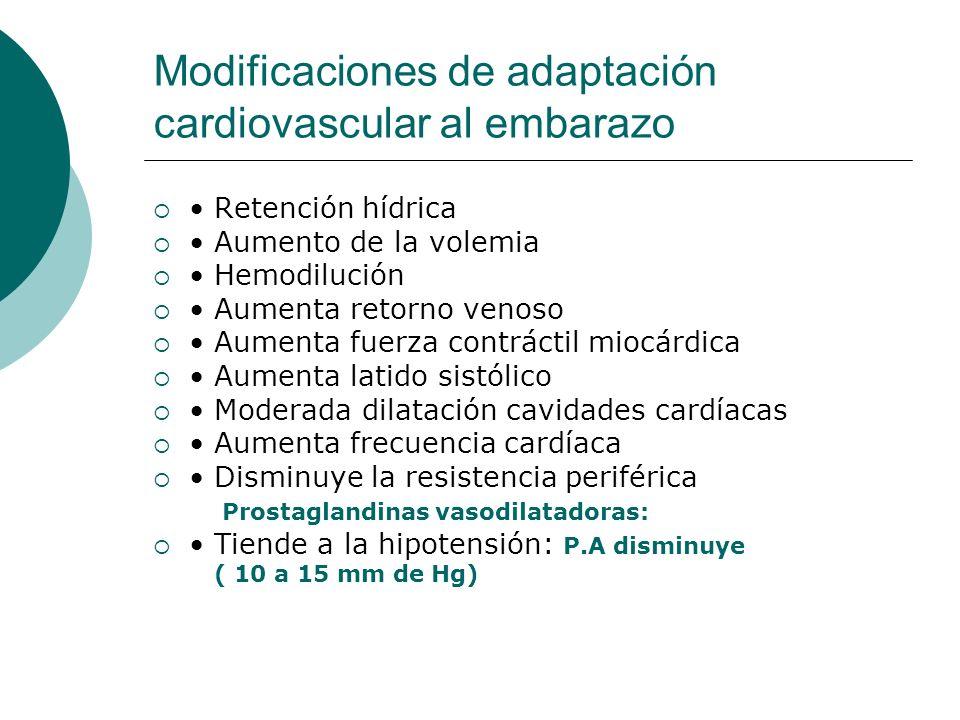 Modificaciones de adaptación cardiovascular al embarazo Retención hídrica Aumento de la volemia Hemodilución Aumenta retorno venoso Aumenta fuerza con