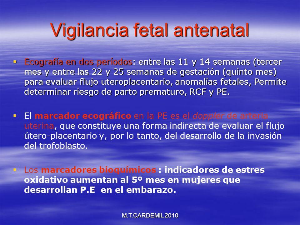M.T.CARDEMIL 2010 Vigilancia fetal antenatal Ecografía en dos períodos: entre las 11 y 14 semanas (tercer mes y entre las 22 y 25 semanas de gestación