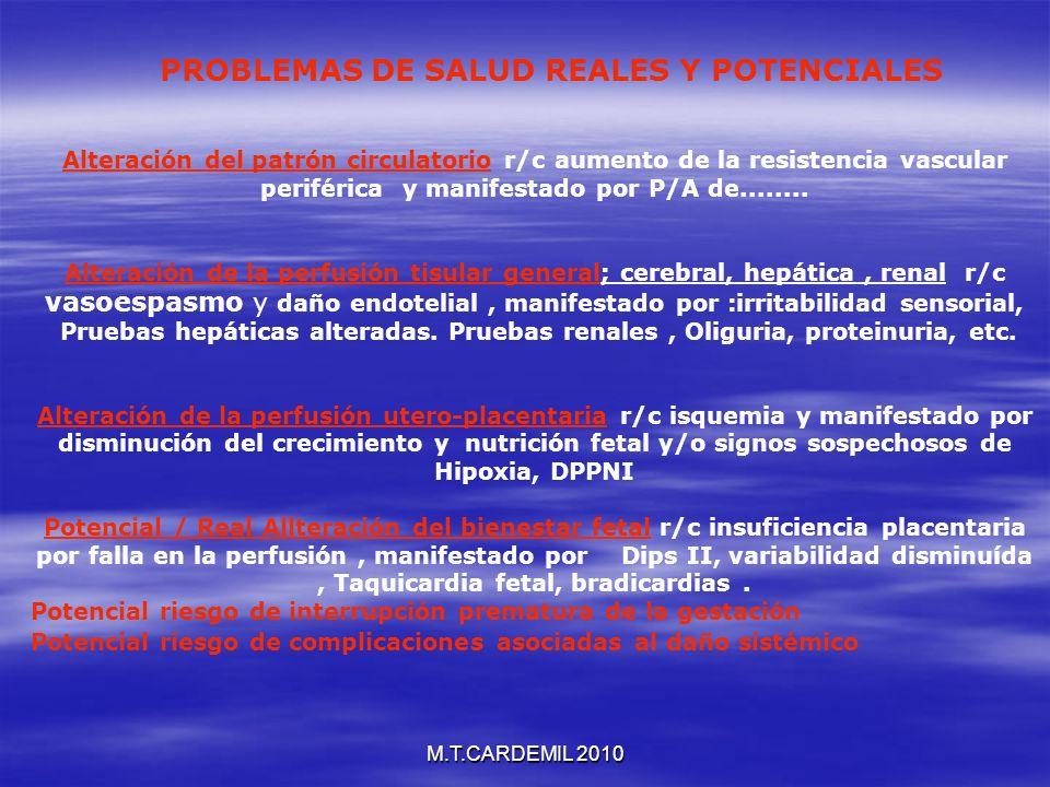 M.T.CARDEMIL 2010 Alteración del patrón circulatorio r/c aumento de la resistencia vascular periférica y manifestado por P/A de........ Alteración de