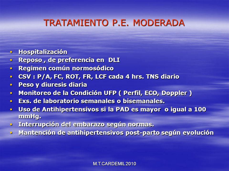 M.T.CARDEMIL 2010 TRATAMIENTO P.E. MODERADA Hospitalización Hospitalización Reposo, de preferencia en DLI Reposo, de preferencia en DLI Regimen común