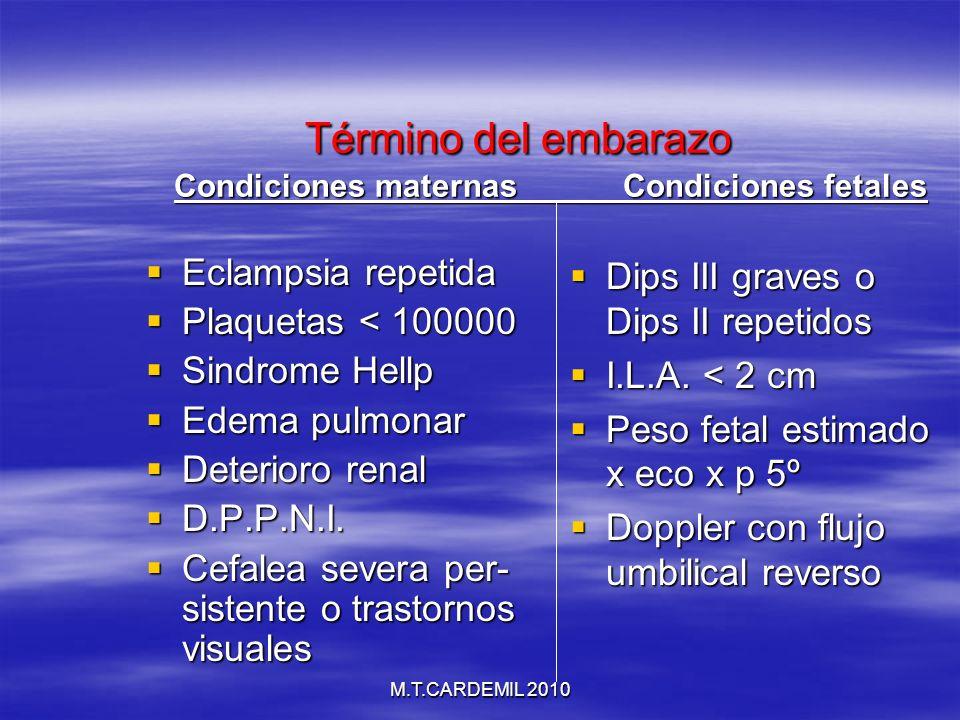 M.T.CARDEMIL 2010 Término del embarazo Condiciones maternas Condiciones fetales Término del embarazo Condiciones maternas Condiciones fetales Eclampsi