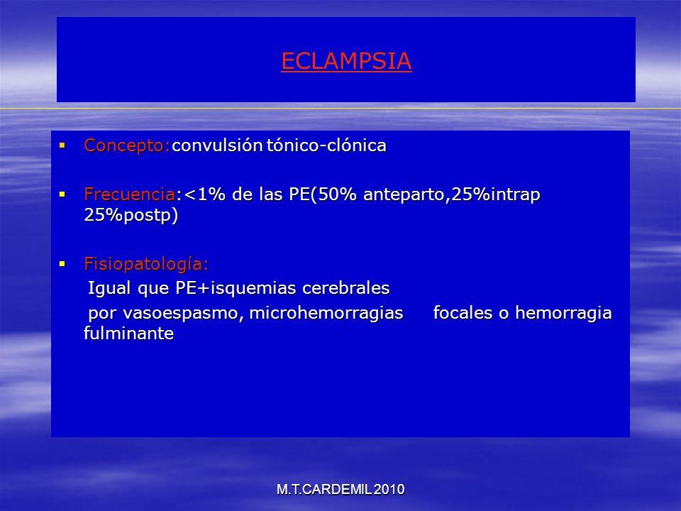 M.T.CARDEMIL 2010 ECLAMPSIA Concepto:convulsión tónico-clónica Concepto:convulsión tónico-clónica Frecuencia:<1% de las PE(50% anteparto,25%intrap 25%