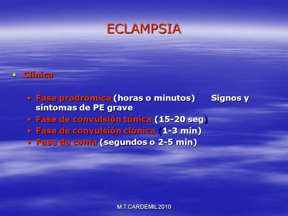 M.T.CARDEMIL 2010 ECLAMPSIA Clínica Clínica Fase prodrómica (horas o minutos) Signos y síntomas de PE graveFase prodrómica (horas o minutos) Signos y
