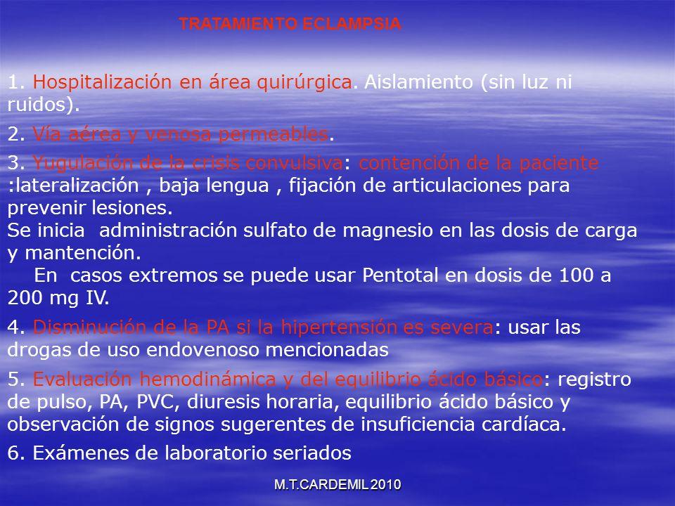 M.T.CARDEMIL 2010 1. Hospitalización en área quirúrgica. Aislamiento (sin luz ni ruidos). 2. Vía aérea y venosa permeables. 3. Yugulación de la crisis