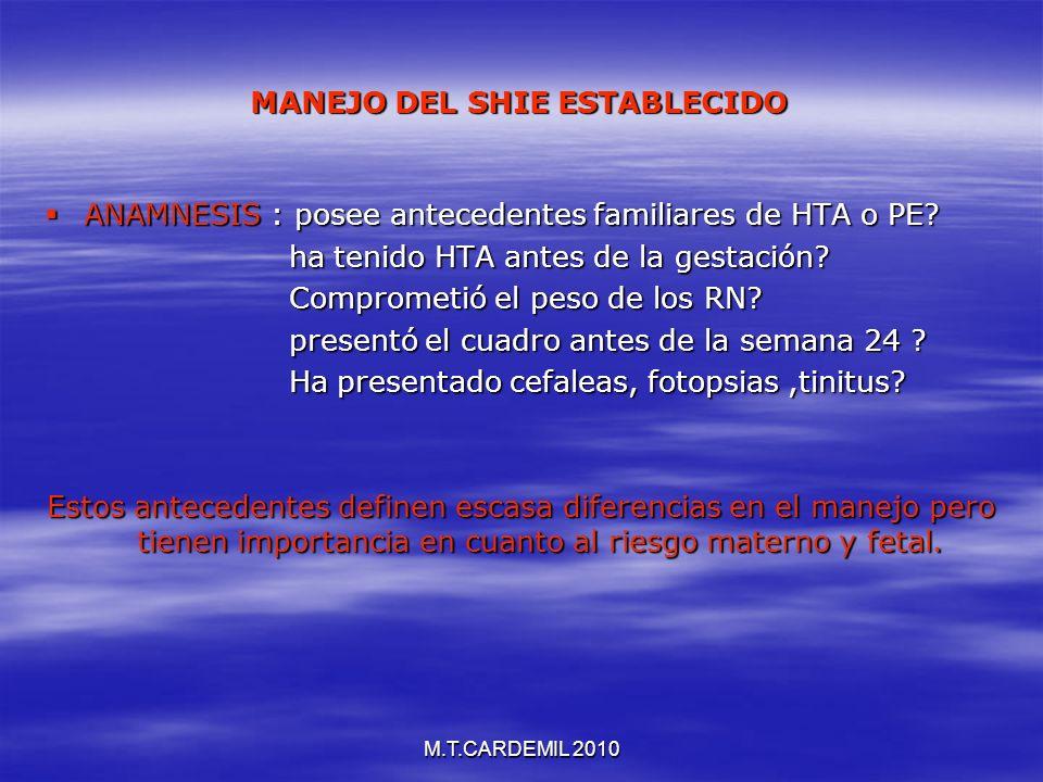 M.T.CARDEMIL 2010 MANEJO DEL SHIE ESTABLECIDO ANAMNESIS : posee antecedentes familiares de HTA o PE? ANAMNESIS : posee antecedentes familiares de HTA