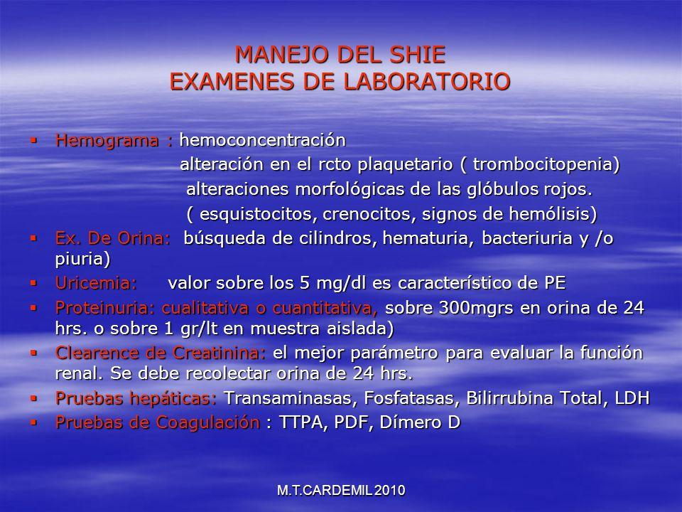 M.T.CARDEMIL 2010 MANEJO DEL SHIE EXAMENES DE LABORATORIO Hemograma : hemoconcentración Hemograma : hemoconcentración alteración en el rcto plaquetari