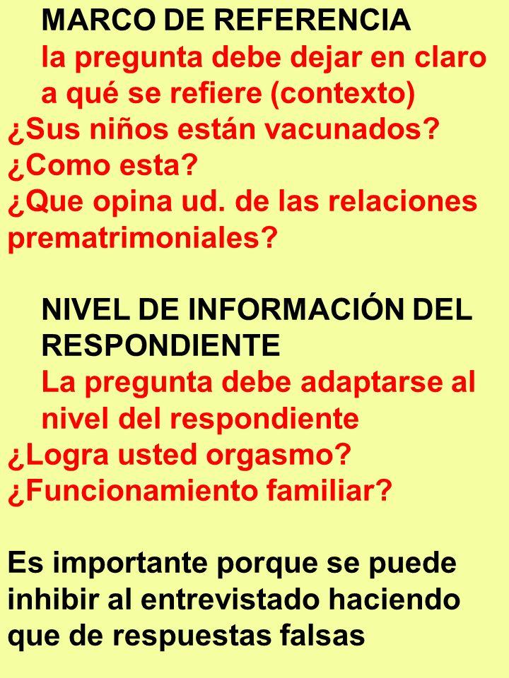 MARCO DE REFERENCIA la pregunta debe dejar en claro a qué se refiere (contexto) ¿Sus niños están vacunados? ¿Como esta? ¿Que opina ud. de las relacion