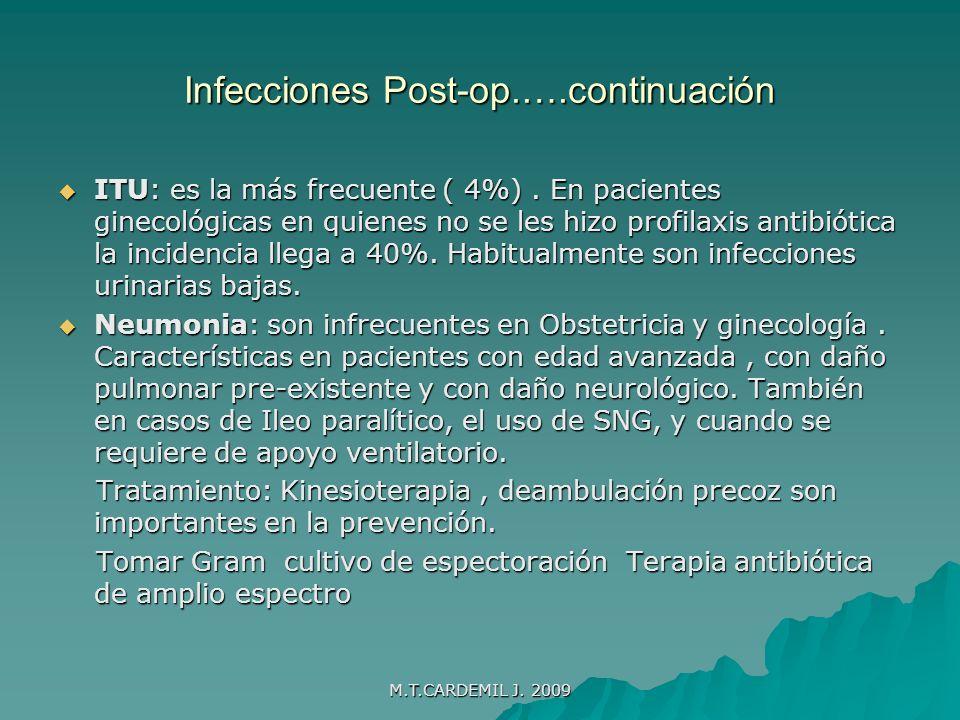 M.T.CARDEMIL J.2009 Otras Infecciones Flebitis : 25-35% de incidencia.