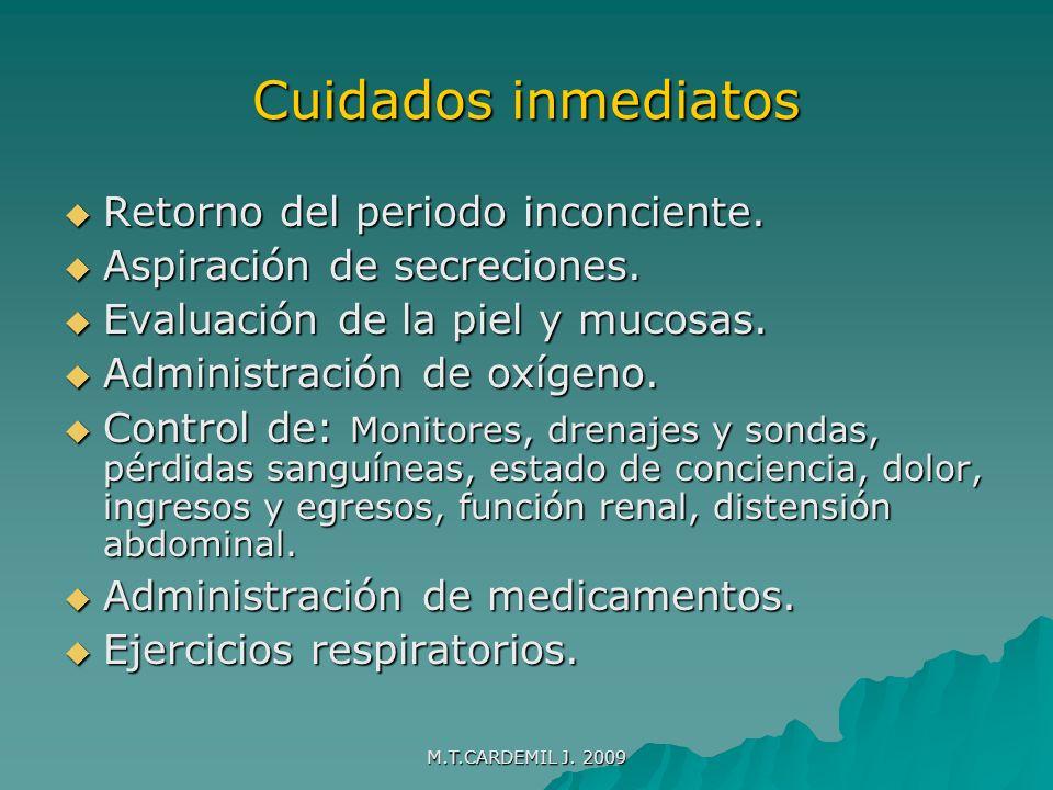 M.T.CARDEMIL J.2009 Cuidado post operatorio tardío Alivio del dolor.