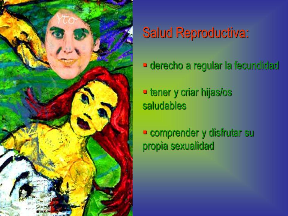 Salud Reproductiva: derecho a regular la fecundidad derecho a regular la fecundidad tener y criar hijas/os saludables tener y criar hijas/os saludable