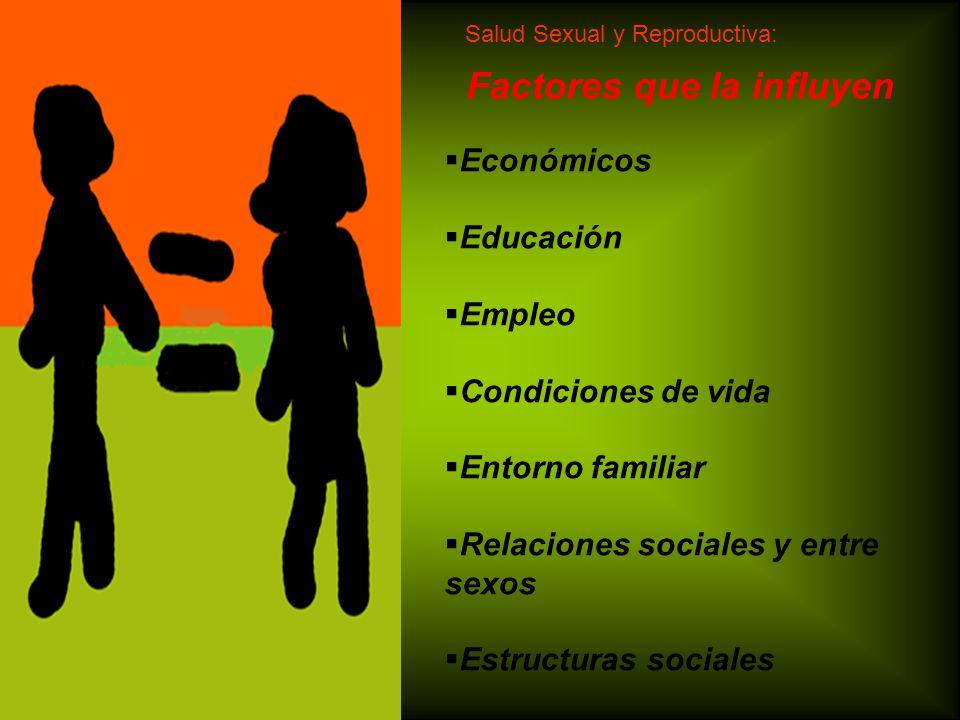 Factores que la influyen Económicos Educación Empleo Condiciones de vida Entorno familiar Relaciones sociales y entre sexos Estructuras sociales Salud
