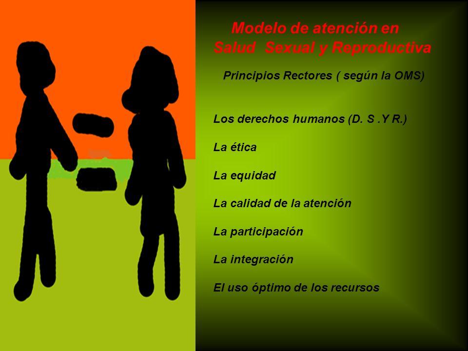 Modelo de atención en Salud Sexual y Reproductiva Principios Rectores ( según la OMS) Los derechos humanos (D. S.Y R.) La ética La equidad La calidad